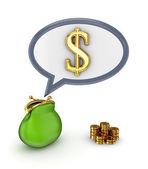 Dolar işareti ve yeşil çanta. — Stok fotoğraf