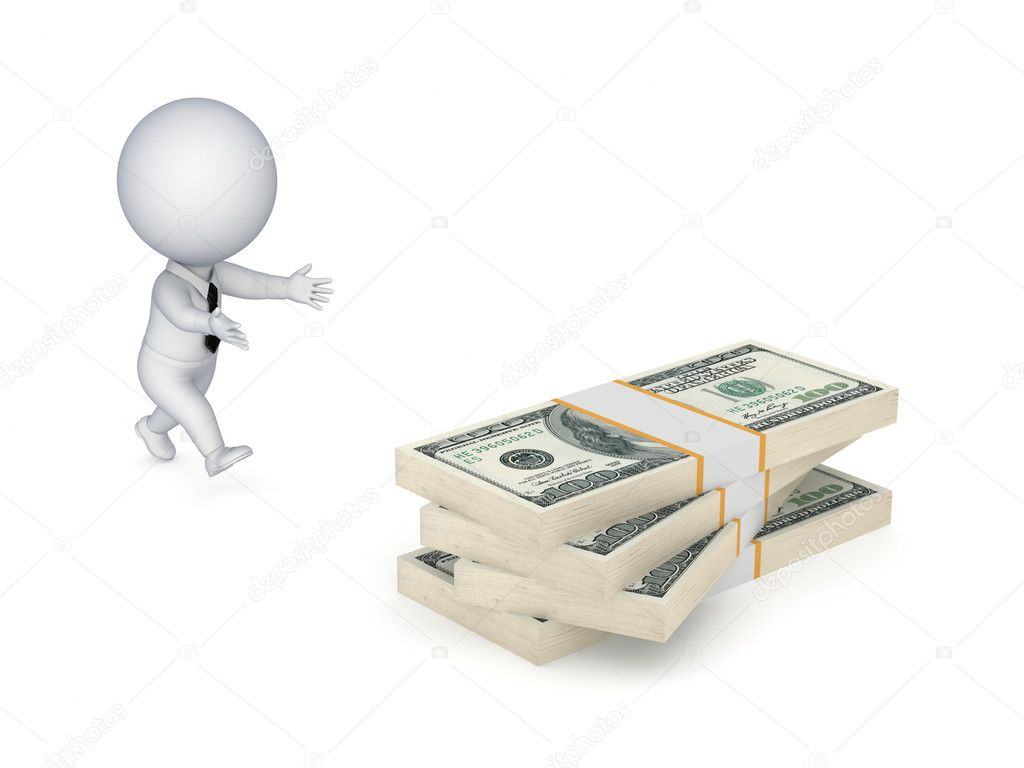 3d small person running to a dollar packs.Isolated on white background. — Stock Photo #11241520