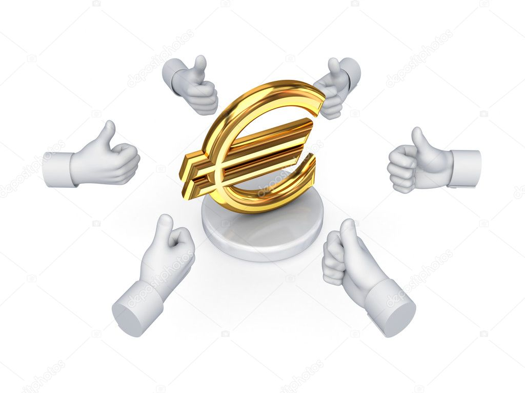 Hands with thumbs up around euro symbol.Isolated on white background.  Stock Photo #11539430