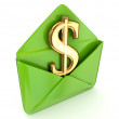 Dollar sign in a green envelope. — Stock Photo #11541726