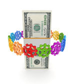 Colorful gears around dollar pack. — Stock Photo
