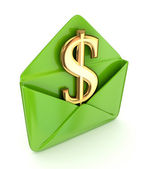Dollar sign in a green envelope. — Stock Photo