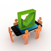 3d small , mobile phone and green tick mark. — Stock Photo