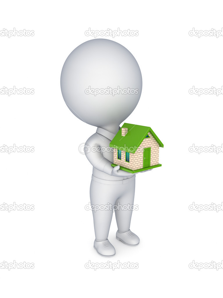 3d person with a small house in a hands.Isolated on white background.  Stock Photo #11541783