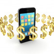 Dollar signs around modern mobile phone. — Stock Photo