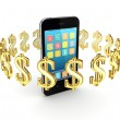 Dollar signs around modern mobile phone. — Stock Photo #11568444