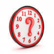 Query symbol on a red watch. — Stock Photo #11569194