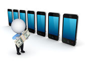 3d small person buying mobile telephone. — Stock Photo