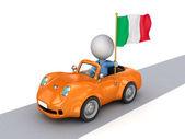 İtalyan bayrağı ile turuncu araba 3d küçük kişi. — Stok fotoğraf