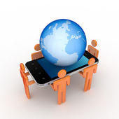 3d small , mobile phone and big globe. — Stock Photo
