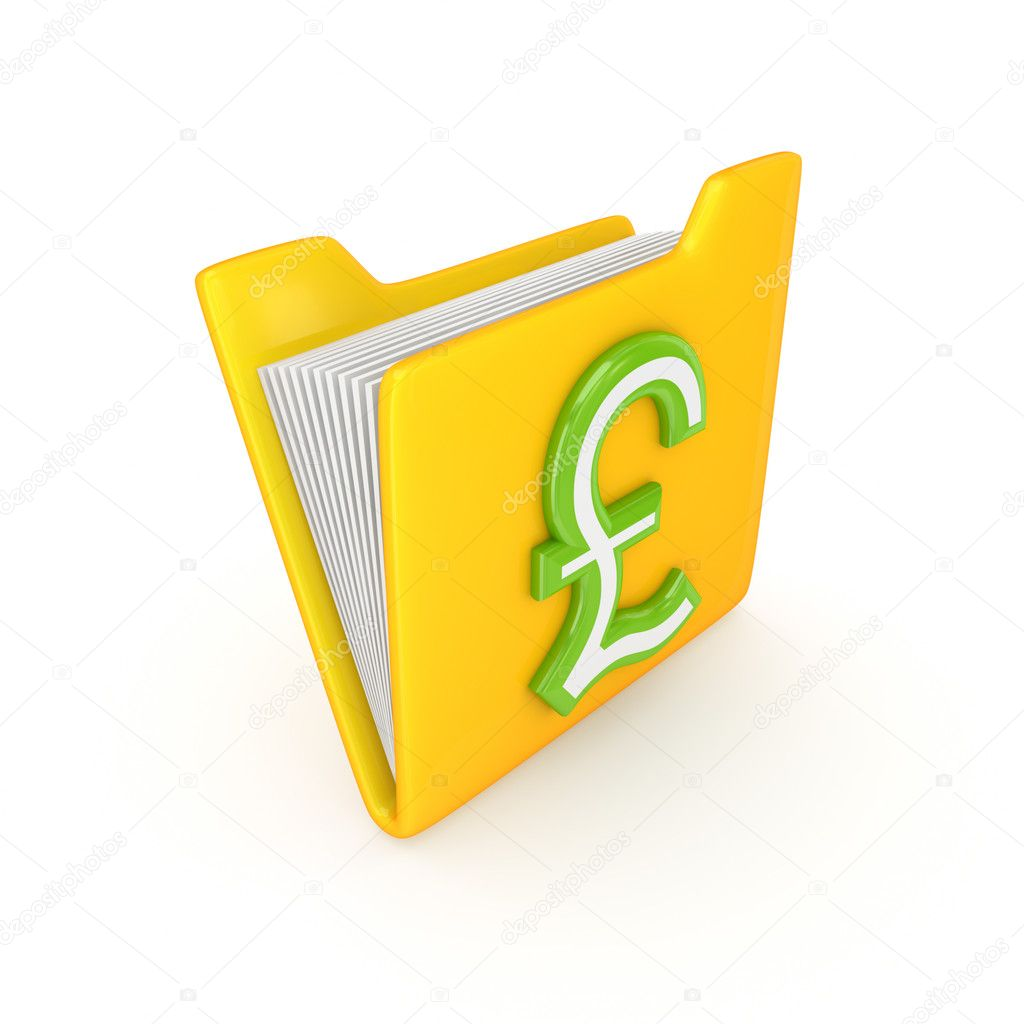 Pound sterling sign on a yellow folder.Isolated on white background.3d rendered.  Stock Photo #11574358