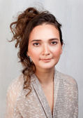 Portrait of the young woman with east eyes — Stock Photo