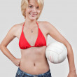 Sports young woman with a ball — Stock Photo