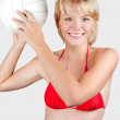 Stock Photo: Sports blonde with a ball