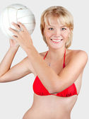 Sports blonde with a ball — Stock Photo