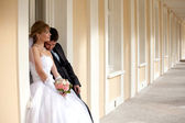 Groom and the bride at the palace — Stock Photo
