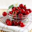 Fresh cherries in a glass cup with jasmine flower — Stock Photo