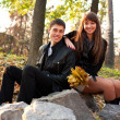 Young happy smiling couple in autumn outdoors — Stok fotoğraf