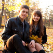 Young happy couple in autumn park — Stok fotoğraf