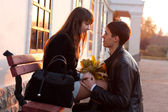 Young man declaration of love for young woman — Stock Photo