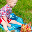 Happy child having picnic on the green meadow — Stock Photo