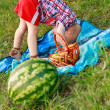 Cheerful child playing outdoor at a picnic — Stockfoto