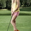 Sexy golf player woman, she looks at left — Stock Photo