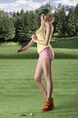 Sexy golf player woman turned of three quarters — Stock Photo