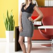 Blonde business woman full-lenght on white background - Stock Photo