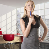 Blonde business woman with serious expression — Stock Photo