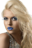 Blonde girl with euro flag make-up, she looks in to the lens — Stock Photo