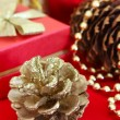 Golden Christmas decorations — Stock Photo #10951169
