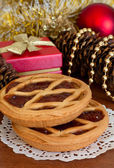 Cakes with jam and Christmas decorations — Stock Photo