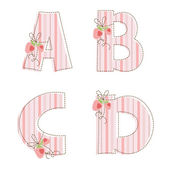 Patchwork alphabet. Letter A, B, C, D — Stock Vector