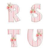 Patchwork alphabet. Letter R, S, T, U — Stock Vector