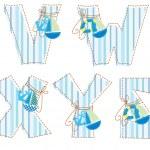 Patchwork alphabet. Letter V, W, X, Y, Z — Stock Vector