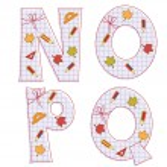 School paper alphabet. Letter N, O, P, Q — Stock Vector