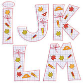 School paper alphabet. Letter I, J, K, L, M — Stock Vector