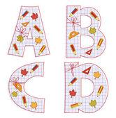 School paper alphabet. Letter R, S, T, U, ! — Stock Vector