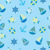 Marine kid patchwork seamless — Stock Vector