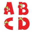 Stock Vector: Red strawberry alphabet. Letter A, B, C, D