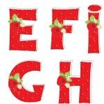 Red strawberry alphabet. Letter E, F, G, H, I — Stock Vector