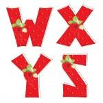 Red atrawberry alphabet. Letter W, X, Y, Z — Stock Vector