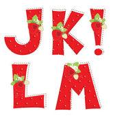 Red strawberry alphabet. Letter J, K, L, M, ! — Stock Vector