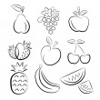 Fruit silhouettes — Stock Vector