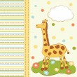 Kid greeting card with cute giraffe — Stock Vector