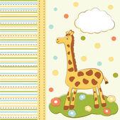 Kid greeting card with cute giraffe — Stock Vector