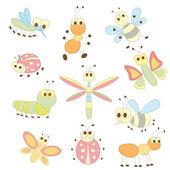 коллекция насекомых мультфильм — Cтоковый вектор