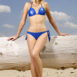 Beautiful blonde woman in blue bikini — Stock Photo #12044021