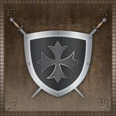 Heraldic shield with maltese cross. — Stockfoto